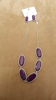 Charming Charlie's Purple necklace earring set