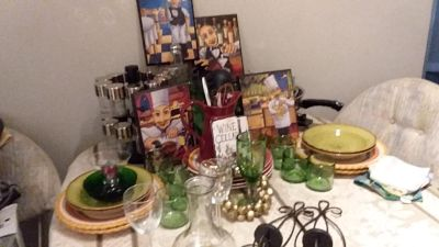 Various Italian Dinner Cookware, Dishes and Glassware