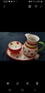 Brand NEW 4 pc red and green dish set