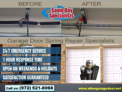 Family Owned Garage Door Spring Repair & New Installation $25.95 | Allen Dallas, 75071 TX