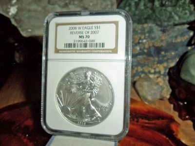 2008 W Burnished American Eagle Walking Liberty Reverse of 2007 $1 Silver Coin NGC MS 70