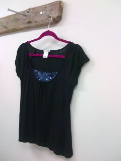 New Black Soft Cotton Tee Top w Inset Sparklies D collet