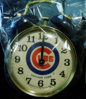 CHICAGO CUBS TWIN BELL ALARM CLOCK; VINTAGE LAFAYETTE WATCH CO. VERY RARE!
