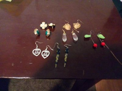 A bundle of seven pairs of pierced earrings All $4