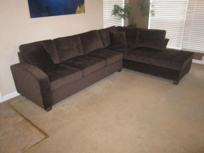 Chocolate brown microfiber sectional - new