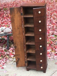 Old 7-Shelf Bookcase Display Cabinet