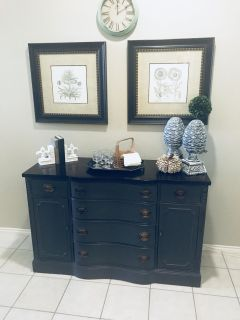 Refinished vintage Buffet/ Entry Table/ tv console