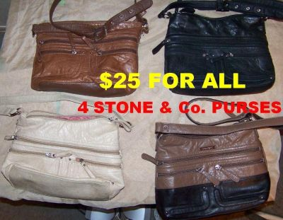 ONE PRICE FOR ALL 4 Gently Used Stone & Co Leather Crossbody bag with Adjustable strap. SEE BELOW