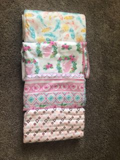 EEEUC 4 Beautiful handmade receiving/swaddle blankets, extra long