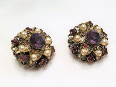 Vintage Collectible West Germany Silver Tone Purple Gems Stone Pearl Earrings