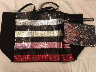 Brand new Victoria s Secret sequined full tote and make-up bag