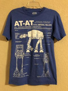 Star Wars Blue AT-AT AKA Imperial Walker Short Sleeve Shirt. Excellent Condition. Size Small