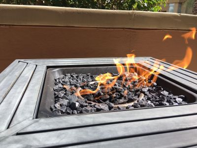 Propane Fire Pit with Glass Fire Stone