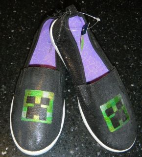 Girls / Womens Size 5 MINECRAFT Creeper Black Shimmer Shoes
