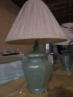 Two Light Green Lamps with shades