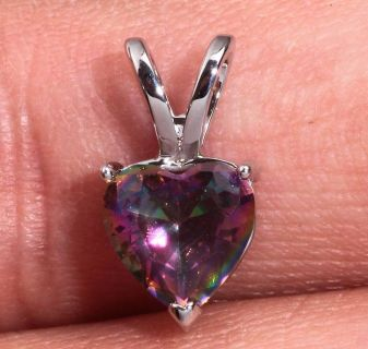 New - Dainty Heart Rainbow Topaz Pendant (Includes a chain)