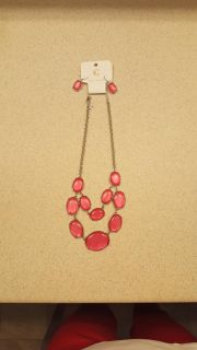 Charming Charlie pink bauble necklace/earring set
