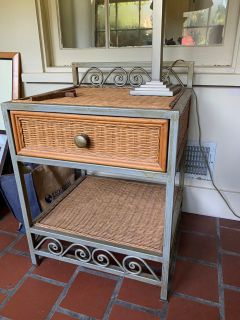 Metal frame and wicker side table