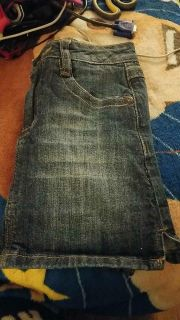 Size 8 blue jean girls skirt with shorts underneath