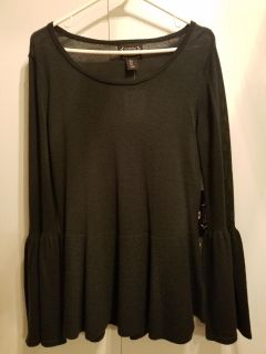 Dark Green Sweater with Bell Sleeves and Peplum Waist. New with tags!! Size S