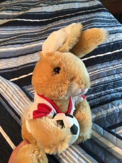 Soccer bunny stuffee in great shape. Gently displayed. Very soft. Gift for your favorite Soccer player