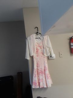 Studio One pink dress with white lace jacket