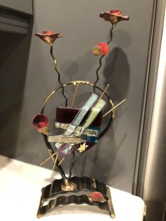 Gary Rosenthal Sculpted Metal and fused Glass Shabbat Candlesticks.
