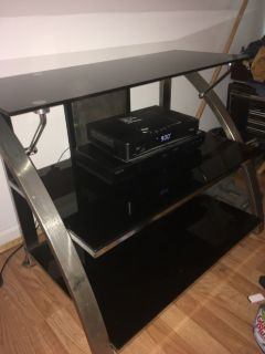 3 Tier Black Tempered Glass/Brushed Stainless Steel TV & Component Stand