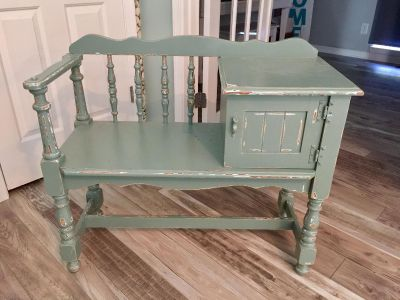 Vintage Gossip Chair, Solid Wood, Refinished