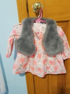 Cat and jack 6-9 month dress with furry vest