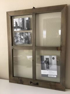 Brand New Large Rustic Wood Windowpane Collage Floating Frame 17 x 22