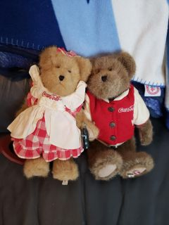 VINTAGE HIS AND HER COKE A COLA COLLECTABLE BEARS