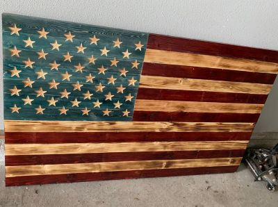 Large wood flag