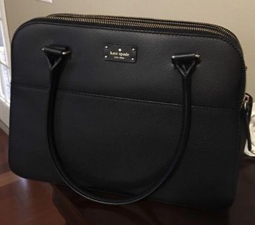 Kate Spade New York Terri Grove Street black leather tote shoulder bag GREAT condition