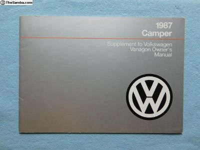 NOS 1987 Camper supplement manual Westfalia