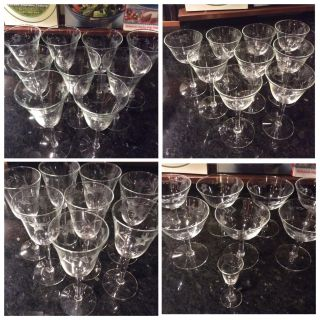 Excellent 34 pieces Princess House Crystal Heritage Glass Wine Cups $5 each or $150 for all