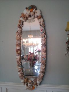 Cottage chic large oval shell mirror
