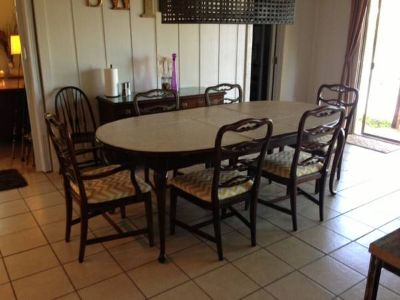 cherry dining table with six chairs (Lake Cherokee)