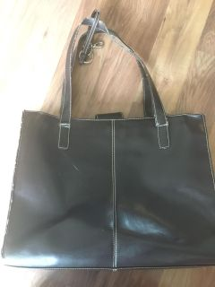 Brown leather bag tote laptop business bag