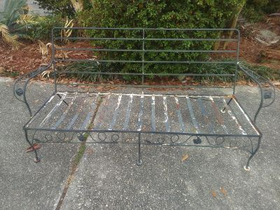 """Vintage, Wrought Iron, """" loved """" bench 71 x 23"""