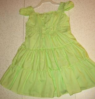 NEW Pastel Green Ruffled Sundress Gathered Shoulder Cuff Eyelet Fabric Trim & Bow & Attached UnderSkirt 4T $6