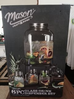 NIB Mason 6 Piece Glass Drink Dispenser Set