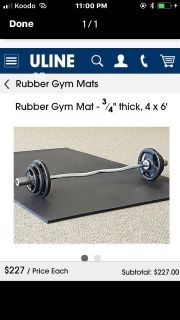 Heavy duty rubber gym mats from Uline