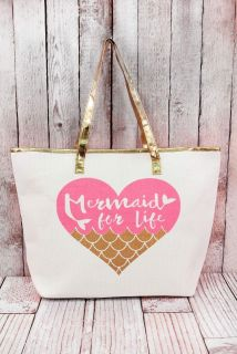 """Boutique Gold and Pink """"Mermaid for Life"""" tote 14"""" Wide (Bottom) x 20"""" Wide (Top) x 13.5"""" Tall x 6"""" Deep"""