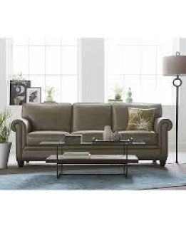 "Martha Stewart Bradyn 89"" Leather Sofa Reg.$2499. Furniture Now"