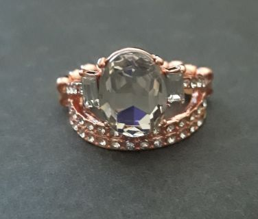 Beautiful copper ring with rhinestones