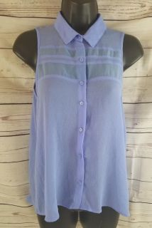 American Eagle Outfitter XS Blue Sleeveless Sheer Button up Tank top