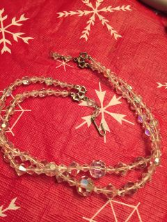 Vintage double strand crystal necklace (missing piece on end)