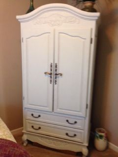 White-washed oak armoire