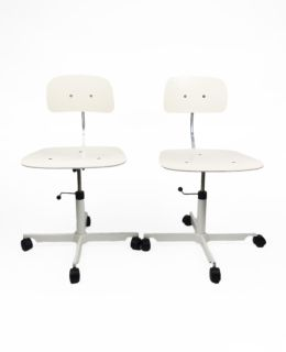 Pair of White Kevi Desk Chairs by Jorgen Rasmussen for Engelbrechts